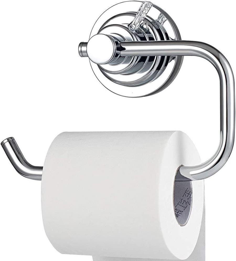 BOPai Modern Vacuum Suction Cup Toilet Paper Holder,Removable Bracket for Bathroom Kitchen.Chrome