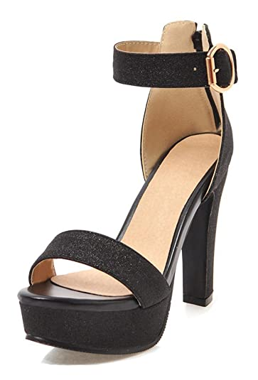 8ae8c975d Aisun Women s Platform Sandals with Zipper - Open Toe Ankle Strap Chunky  Evening - Bridal High