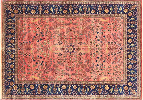 Rugs Mart Mitt Knotted Wool &Wool Blend Rose Blue Sarouk Rug (8 ft x 10 ft)