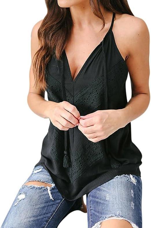 Camisa Sexy de Mujer Chaleco de Encaje de Mujer de Verano Camiseta sin Mangas Blusa Tops de Talla Grande (Negro, 2XL): Amazon.es: Hogar