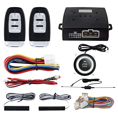 EASYGUARD EC003-1 PKE Passive Keyless Entry Car Alarm System Push Button Start Remote Start Starter DC12V: Car Electronics