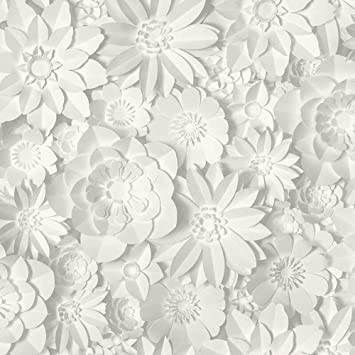 3d Effect Floral Wallpaper Flowers White Grey Washable Fine Decor Dimensions