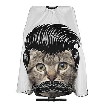 Amazon Com Mustache Moustache Pompadour Cool Cat Hairdresser Hair Stylist Haircut Cover Salon Barbering Cape Shop Accessories Styling Cutting Kit Professional Cloth Women Men Adult Beauty