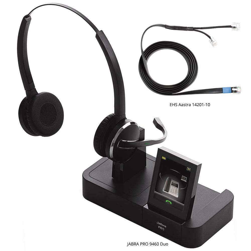 Jabra PRO 9460 Duo Flex Boom Wireless Headset with EHS Aastra 14201-10 Cable, Bundle for Astra & Other Phones