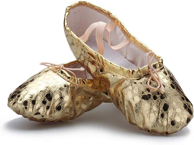 Amazon.com: MSMAX - Zapatillas de ballet de piel para niños ...