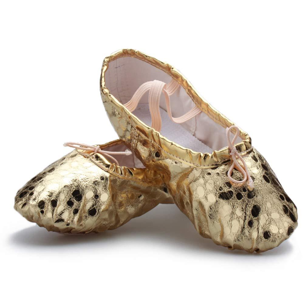 Girls Lovely PU Leather Ballet Dance Slipper Split-Sole Shoes Toddler//Little Kid