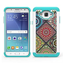 Galaxy J7 J700 2015 Case, Colel [Shock Absorption] [Leather Print Pattern] Hybrid Dual Layer Armor Defender Protective Case Cover for Samsung Galaxy J7 (2015) (Multicolour)