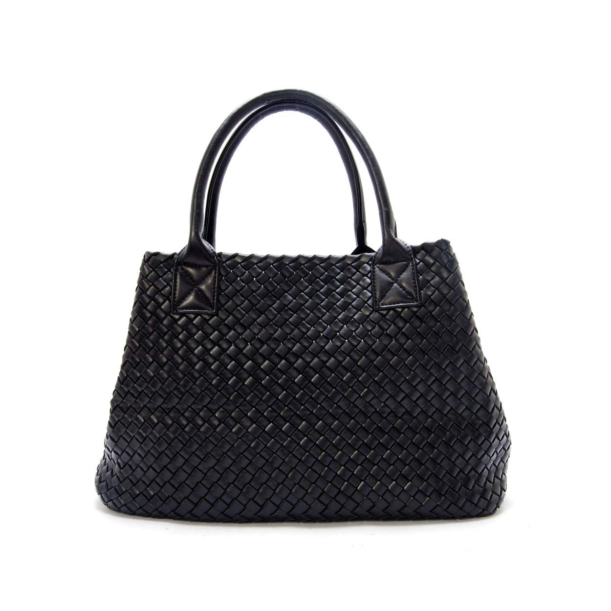 ShouJiao Women Woven Bag Double Colors with Inner Pouch Large Size Purse Weave Leather Handbag