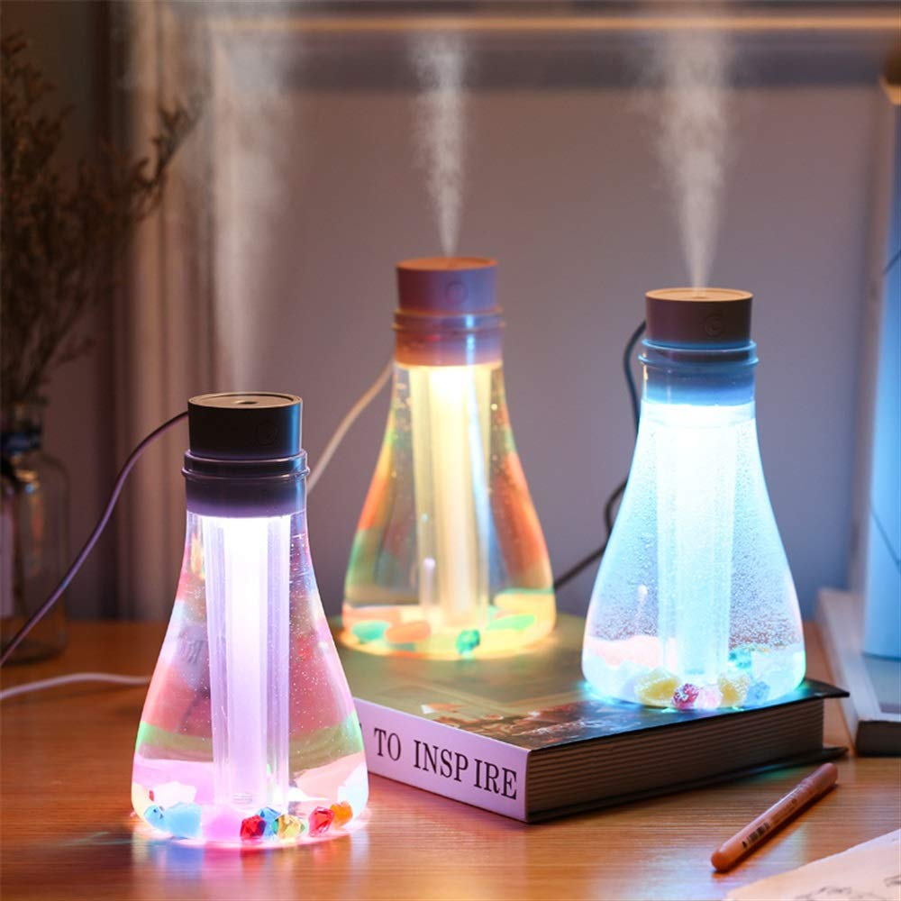 happy- little -bear Mini Night Light Air Humidifier Wishing Bottle Design Cool Mist Humidifier (Color : White)