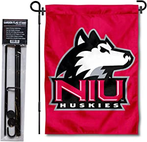 Northern Illinois University Garden Flag and USA Flag Stand Pole Holder Set