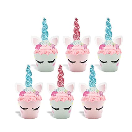 Unicornio Cupcake Toppers y Wrappers Double Sided Kids Party Cake Decorations Conjunto de 24, Unicorn