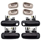 faersi 8Pcs Exterior Interior Door Handles Front and Rear Left Driver Side & Right Passenger Side Door Handle Replacement Set for 1998 1999 2000 2001 2002 Toyota Corolla Chevrolet Prizm