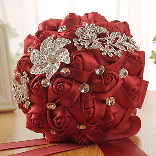 Maikouhai Holding Flowers, Crystal Rose Pearl Bride Bridesmaid Wedding Bouquet Bridal Silk Artificial Flowers Party Decor for Home Cafe Hotel Bedroom - 24x17cm