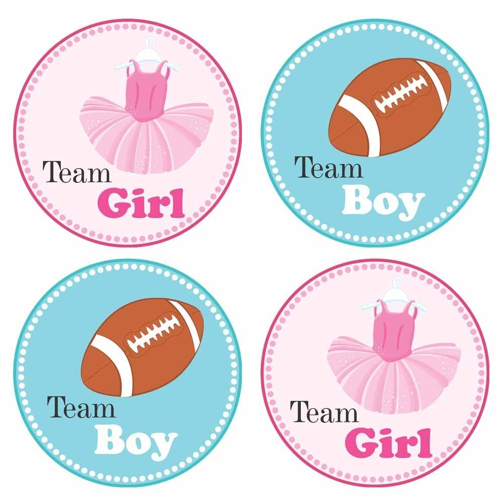 Tutu and Football Gender Reveal Sticker Labels - Team Girl and Boy Baby Shower Party - Set of 30