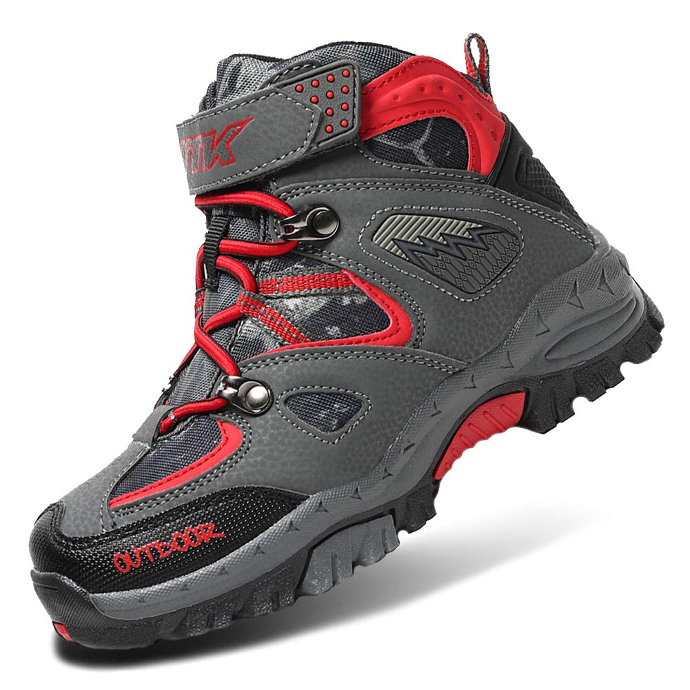 Girls Hiking Boots Waterproof Hiker Boot Hiking Shoes for Boys Sneaker Trekking Outdoor Shoes Youth Big Little Kids Non-Slip Steel Buckle Summer Camp Red Size 3