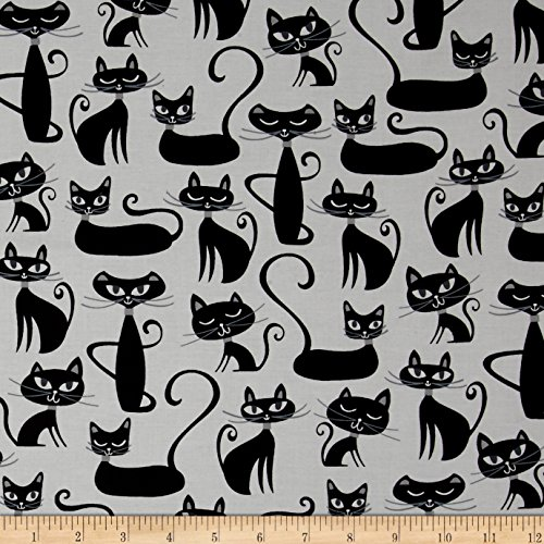 Kaufman Whiskers & Tails Cats Allover White Fabric By The (Cat Fabric)