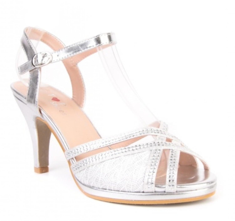 0d3bd90935075c Elegante Damen Hochzeit Riemchen Abend Sandaletten Pumps Kleiner Absatz  Stilettos 588 (38