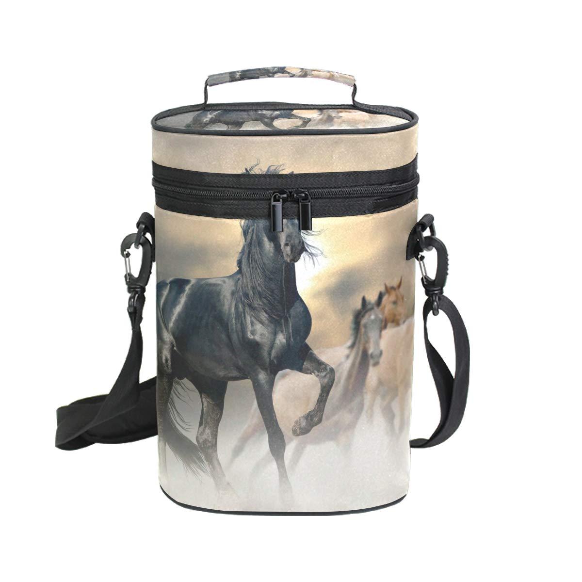 CoOSUN Sac de transport isotherme pour bouteille de vin avec poignée et bandoulière réglable Motif chevaux