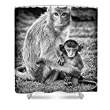 Pixels Shower Curtain (74'' x 71'') ''Mother And Baby Monkey Black And White''