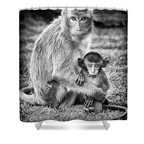Pixels Shower Curtain (74'' x 71'') ''Mother And Baby Monkey Black And White'' by Pixels