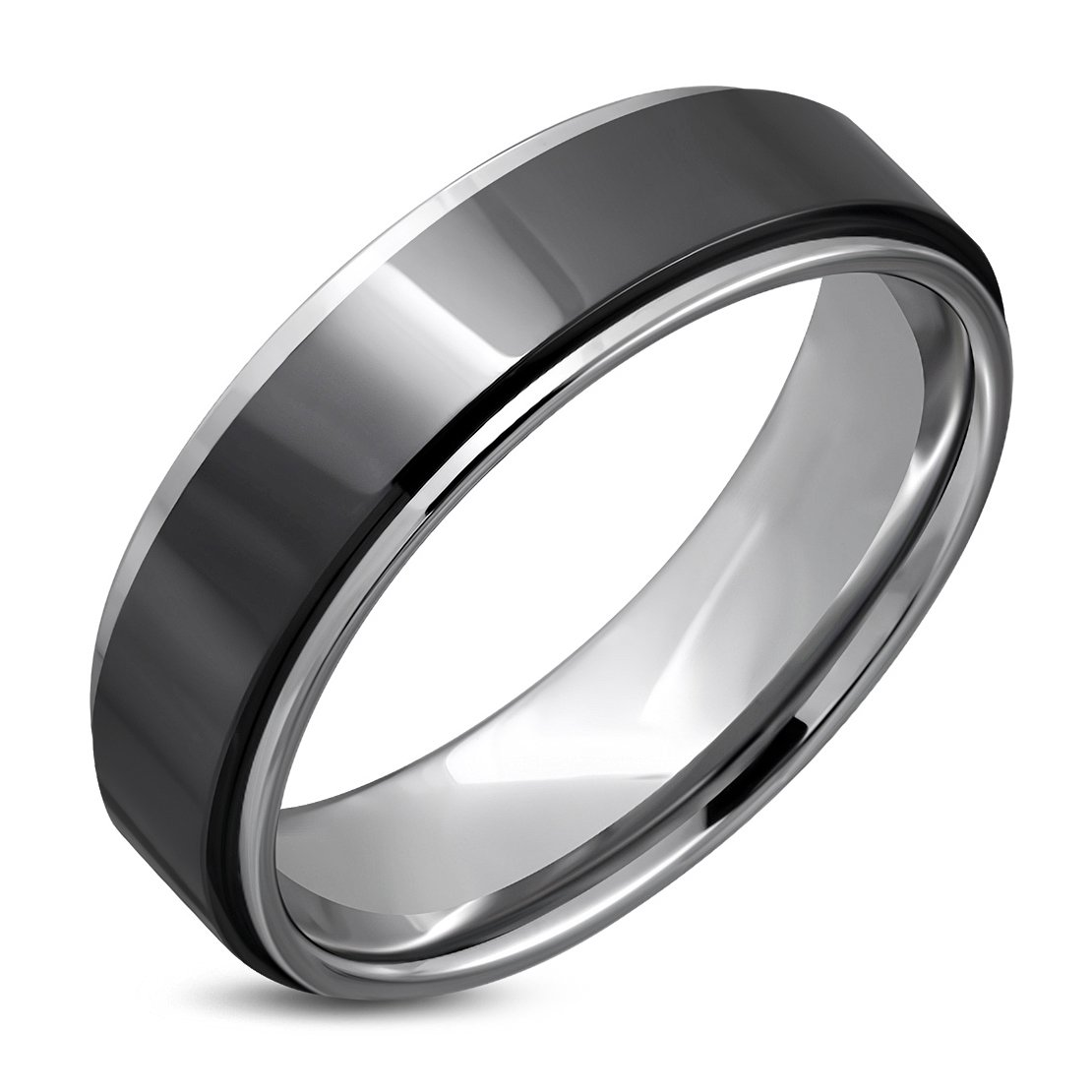 Tungsten Carbide Black Ceramic Stripe Comfort Fit Half-Round Band Ring