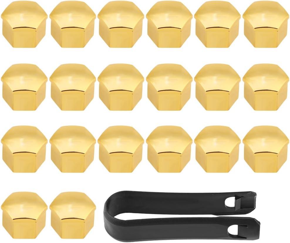 Keenso - 20 tapacubos universales de 17 mm para rueda de coche, tapas para tuerca de tuerca de tuerca, protección de tornillos, color dorado: Amazon.es: Coche y moto