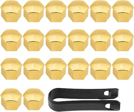 Qiilu 20 Pz 17mm Car Veicolo Ruota dado Lug Coprimozzo Vite Bullone Vite Coperchio a vite Protezione Tappo Protettivo Universale Fitment per la Maggior Parte Dei Veicoli oro