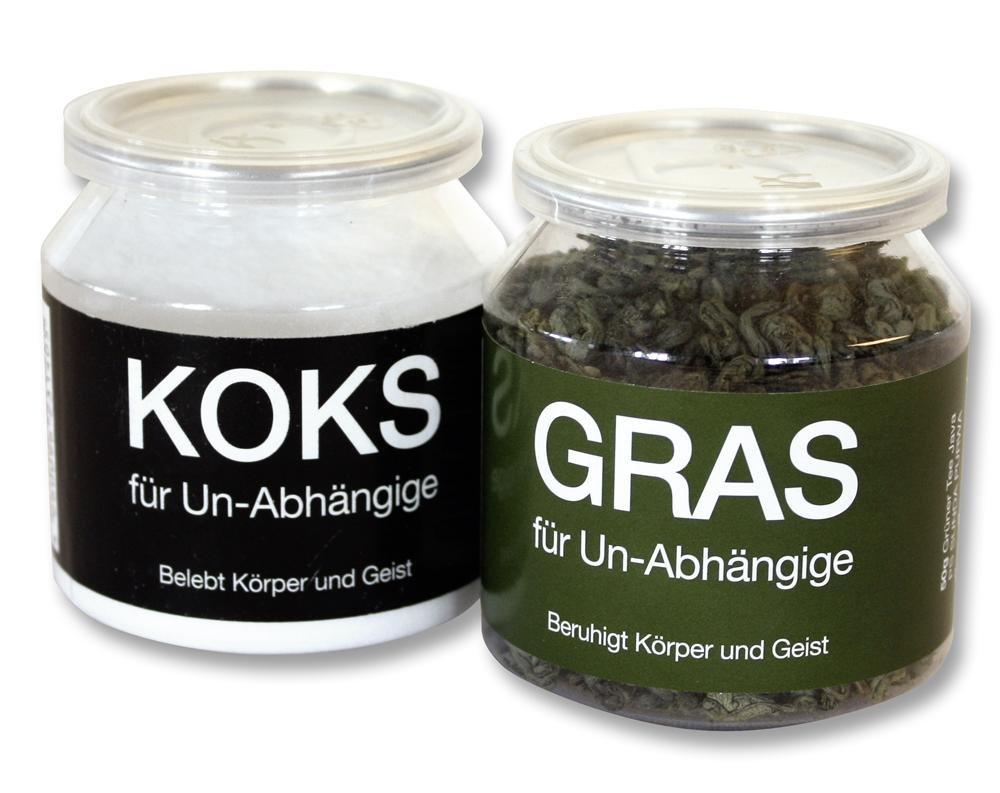 GRAS und KOKS für Un-Abhängige im 2-er Set - FUN Scherzartikel, Tee & Traubenzucker Close Up