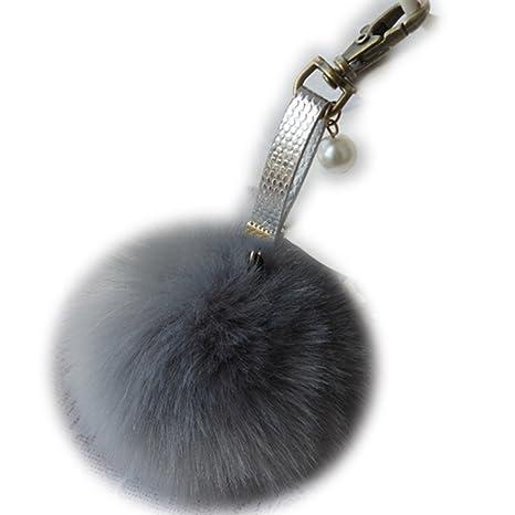 Sweet Home Fashion in finta pelliccia di coniglio palla portachiavi auto  Fluffy pom pom Key Chain 640b405d5766