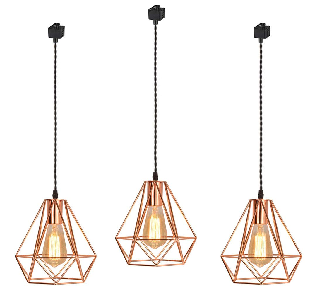 Juno Track Mounted Lighting Pendant Light Kit Copper Caged Hanging Pendant Lamp,Three Lamps