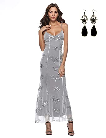 WAEKIYTL Women Sliver Sequins Mermaid Dress Sexy V Neck Prom Cocktail  Evening b07a7c49e