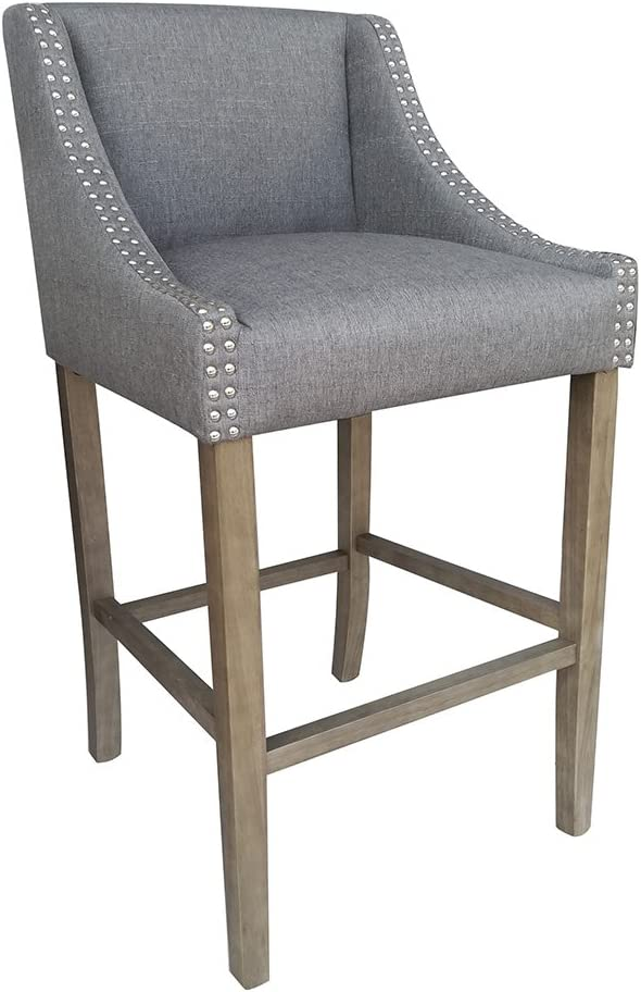 Modern Home Parkland Contemporary Wood Linen Barstool – Gray Linen