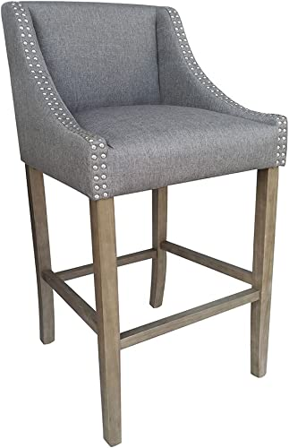 Modern Home Set of 2 Parkland Contemporary Wood Linen Barstool – Gray Linen