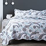 Bedsure 3-Piece Bedding Quilt set Coverlet Full/Queen size(86''x96'') with two Pillow Shams,Paisley Blue Pattern, Lightweight Design for Spring and Summer
