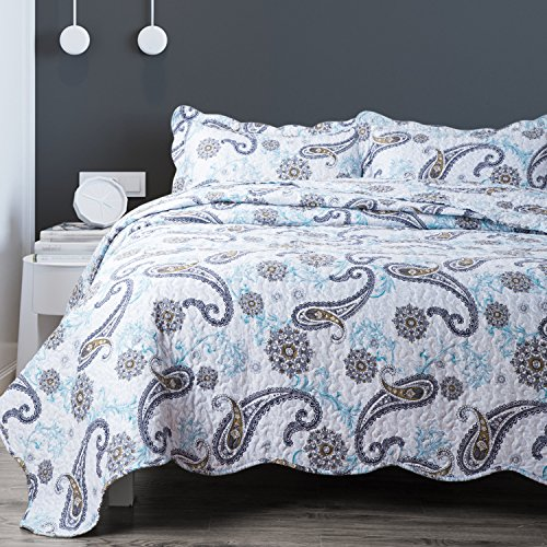 Bedsure 3-Piece Bedding Quilt set Coverlet Full/Queen size(86''x96'') with two Pillow Shams,Paisley Blue Pattern, Lightweight Design for Spring and Summer by Bedsure