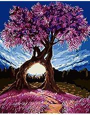 Fuumuui Lienzo de Bricolaje Regalo de Pintura al óleo para Adultos niños Pintura por número Kits Decoraciones para el hogar -Árbol Morado 16 * 20 Pulgadas