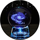 Galaxy Crystal Ball - Galaxy Balls for Kids with LED Lamp Base Clear 80mm(3 inch)Galaxy Glass Art for Kids Birthday…