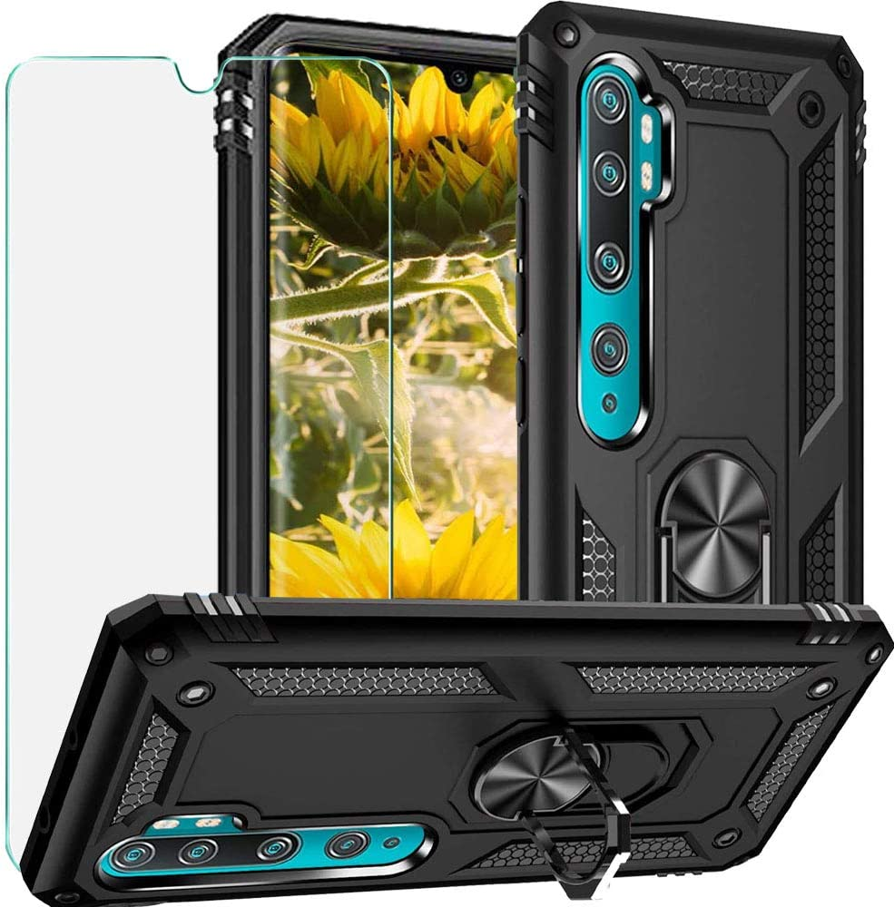 Luosunstar for Xiaomi Mi Note 10/Xiaomi Mi Note 10 pro Case, 360° Rotation Kickstand [Work with Magnetic Car Mount] PC+ TPU Dual Layer Rugged Shockproof Case with Tempered Glass Screen Protector,Black