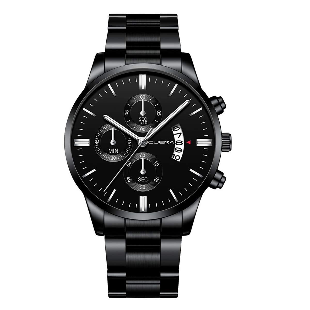 ZODRQ Men's Watch,Fashion Waterproof Sport Watches Stainless Steel Wrist Watch Wristwatch Date Quartz Watch for Men Gift (D) by ZODRQ