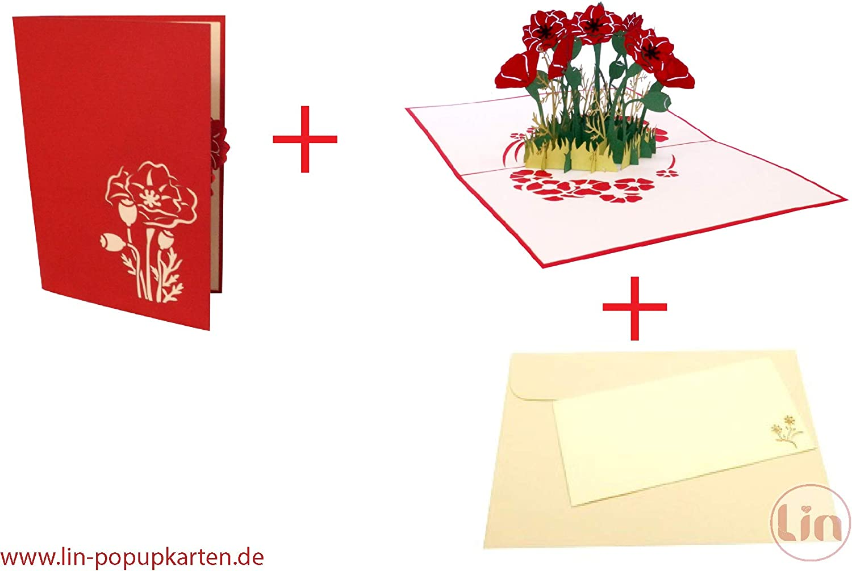 LIN 17612 Carte pop-up Motif fleurs Rouge