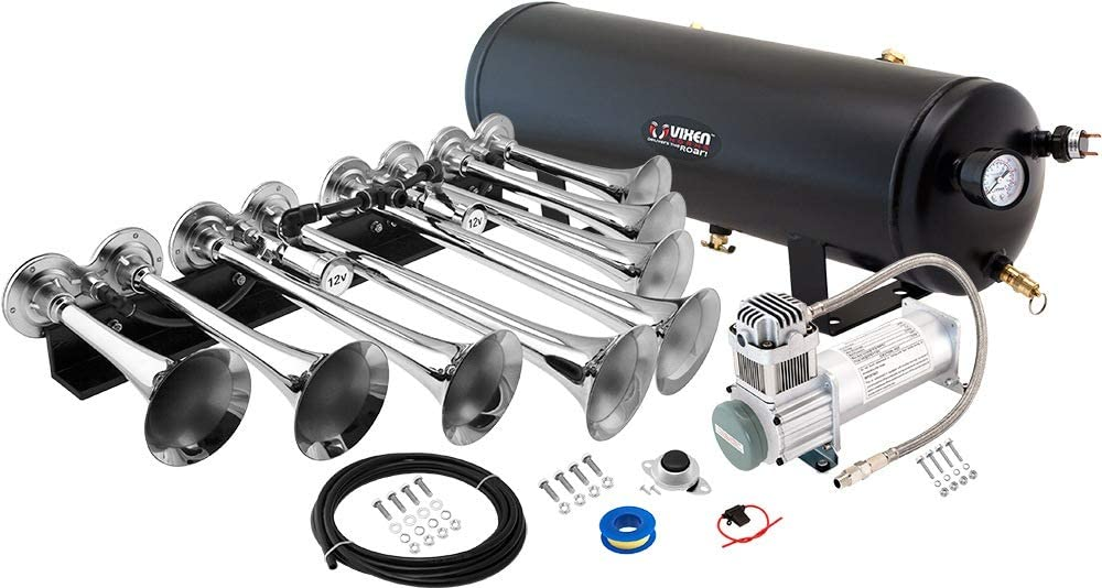 Super Loud dB Complete Onboard System- 200psi Air Compressor Fits Vehicles Like Pickup//Jeep//RV//SUV 12v VXO8330B//8124XB 3 Gallon Tank 3 Trumpets Vixen Horns Train Horn Kit for Trucks//Car//Semi