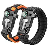 2PCS PACK Multifunctional Paracord Bracelet, Sahara Sailor Outdoor Survival Kit W Compass Flint Fire Starter Scraper Whistle for Hiking Camping Emergency More