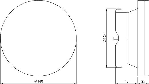 Blanc Soupape de ventilation en t/ôle d/'acier 125 mm Diam/ètre/