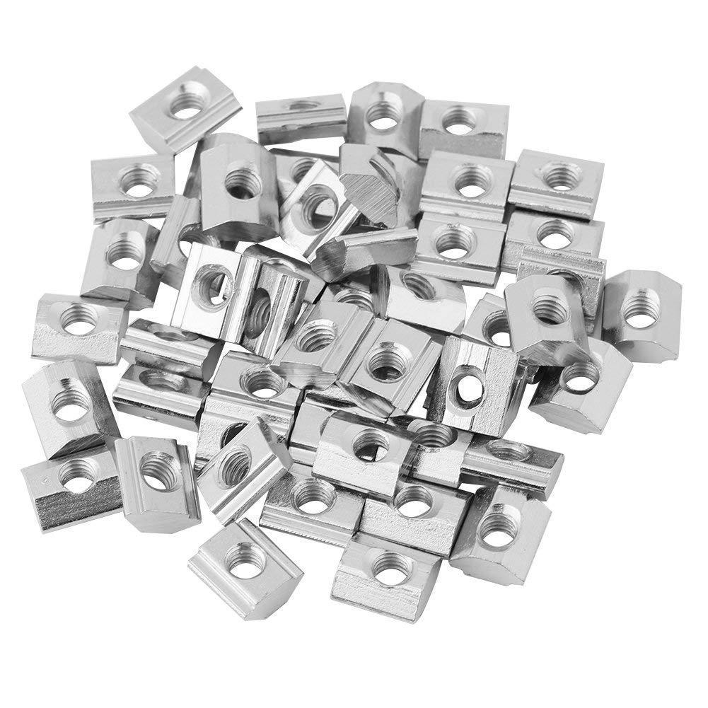 50pcs Nickel Coated T-Slot Nut Carbon Steel Silver Carbon Sliding Fastener for Aluminum Profile Accessories European Standard EU20-M5 HANXIN