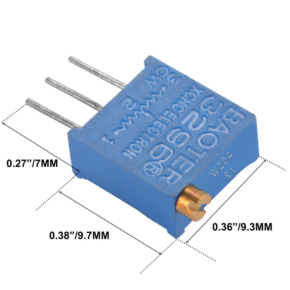 Wolfride 50PCS 10Value 500 ohm to 1M ohm 3296W Multiturn Trimmer Potentiometer Assorted Kit Variable Resistor