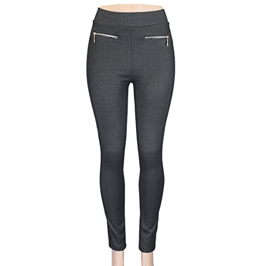 6da9455778762 Charcoal Jeggings Fleece Lined with Gold Zipper and Pockets High Rise  Skinny Fit Small at Amazon Women's Clothing store: