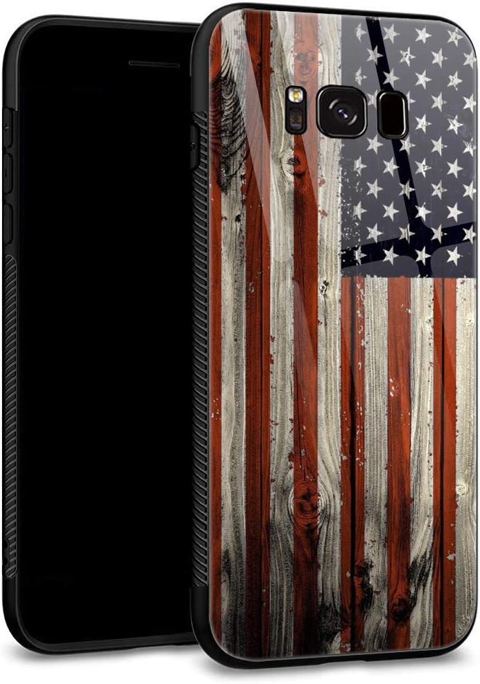 ZHEGAILIAN Galaxy S8 Case, Red Wood American Flag Galaxy S8 Cases for Men Boy, Tempered Glass Back Pattern with Soft TPU Bumper Compatible with Samsung Galaxy S8 Case Red Wood USA Flag