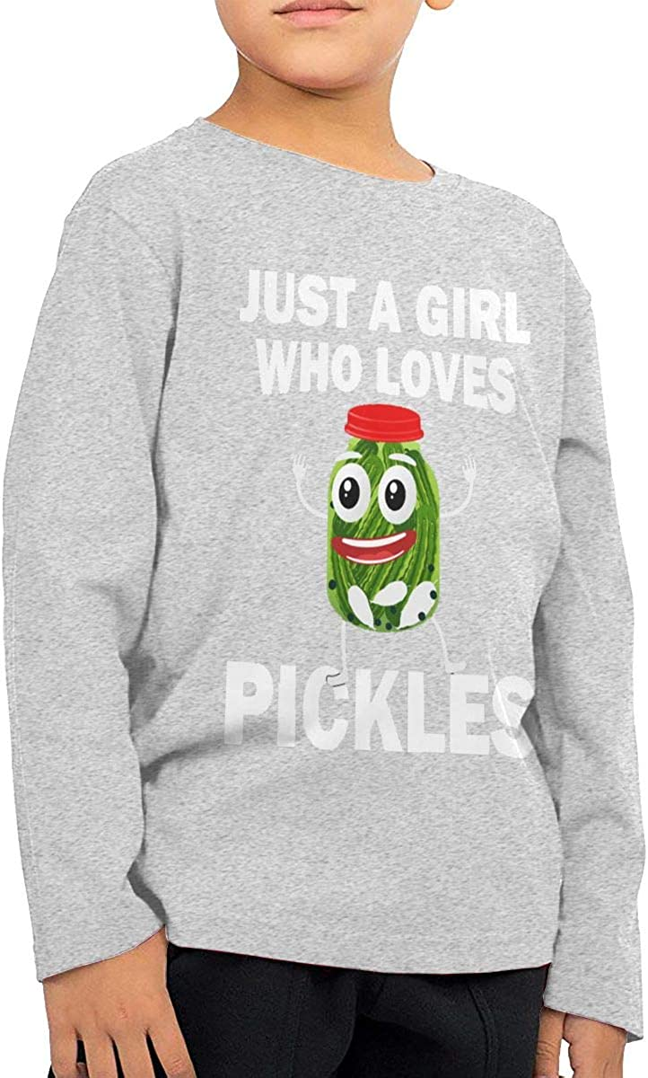 This Girl Loves Pickles Unisex Boys Girls Long Sleeve Crew Neck Cotton T-Shirts Pullover Shirt for 2-6T Baby