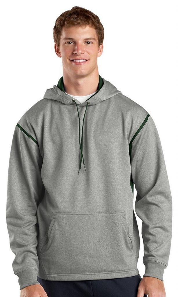 Sport-Tek Men's Tall Tech Fleece Colorblock 4XLT Grey Heather/Forest Green by Sport-Tek