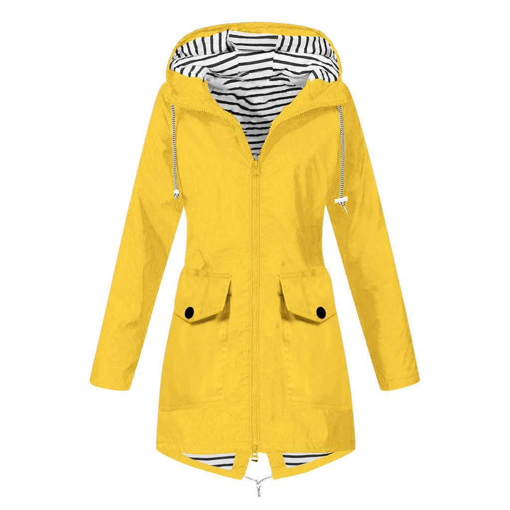 perfectCOCO Women Windbreaker Rain Jacket Raincoat Outdoor Plus Size Coat Waterproof Windproof Hooded Loose Outwear Yellow by perfectCOCO
